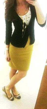 Classy teacher outfit-- glad to see flats, instead of trendy heels. Sorry fashion, but I stand all day.