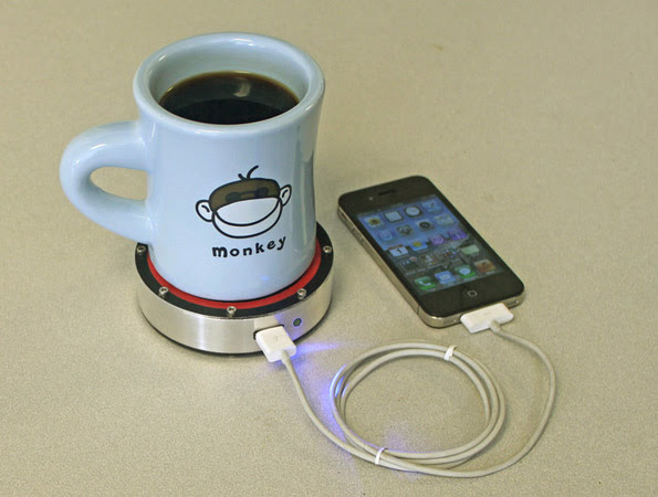 DNP Insert Coin Epiphany One Puck charges your phone using heat transfer