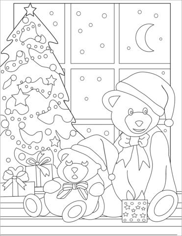 cute teddy bears near christmas tree coloring page  free