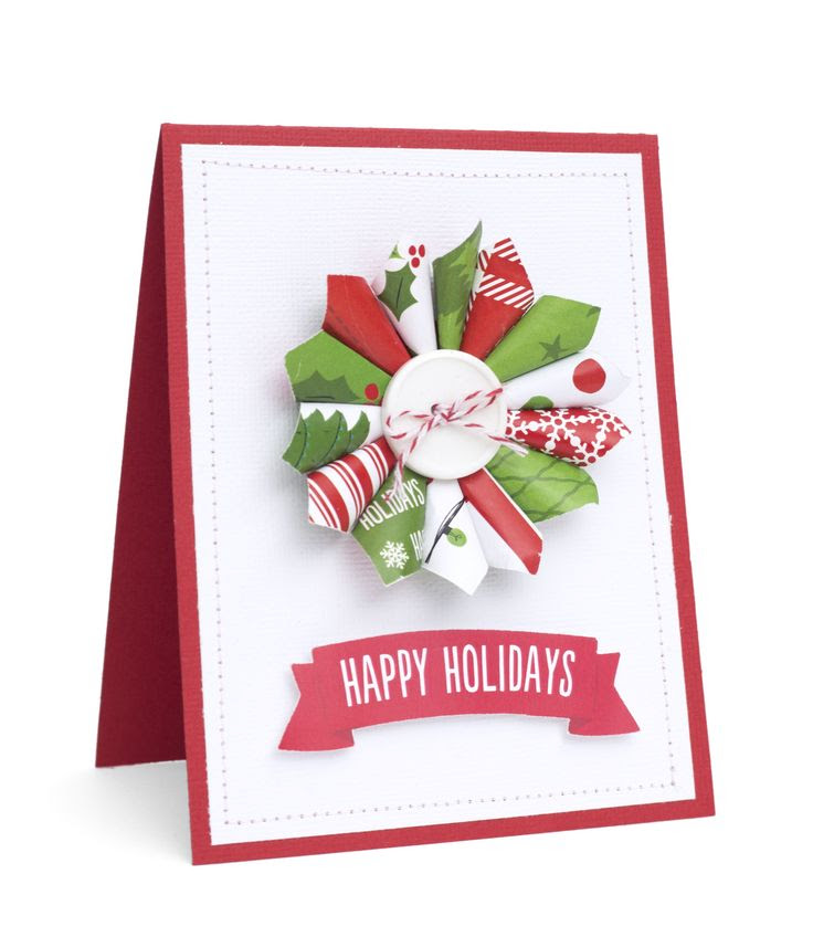 Very simple but very cute Christmas card inspiration. Created with our Be Merry Collection. #bemerry #americancrafts