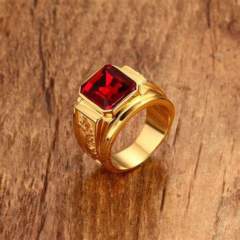 2019 Wholesale Mens Signet Rings Gold Color Red Blue Stone