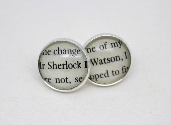 Sherlock Holmes 'Sherlock' & 'Watson' Post / Stud Earrings