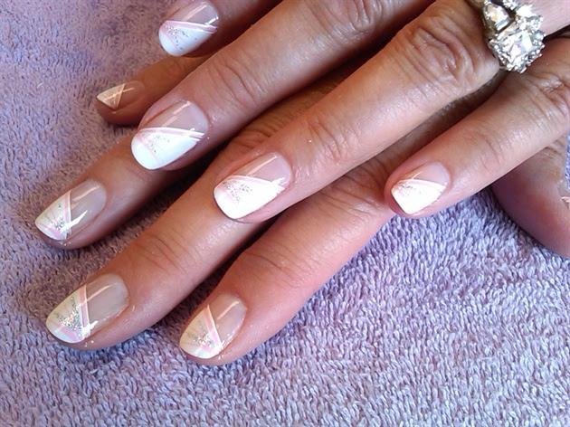 soft pink diagonal french - Nail Art Gallery