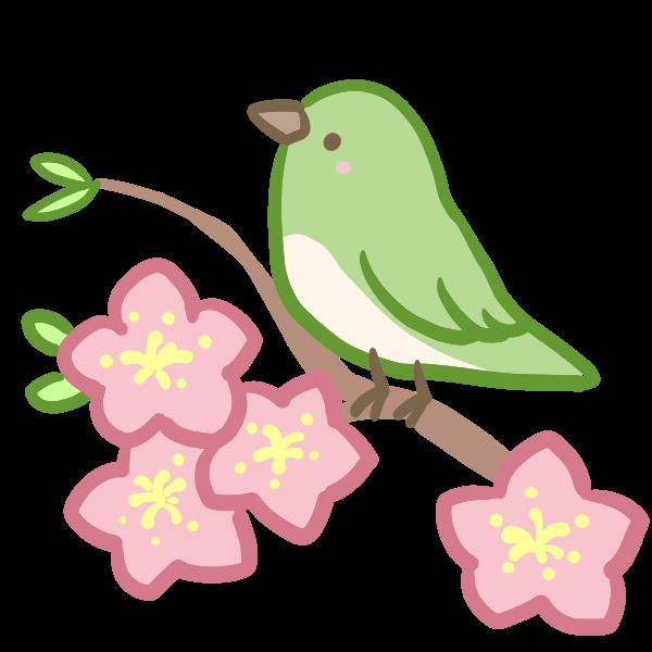 ウグイスと桃の花のイラスト かわいいフリー素材が無料のイラストレイン