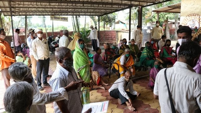 Chaos outside the Bhuye PHC which remains a single vaccination centre for 15 villages.