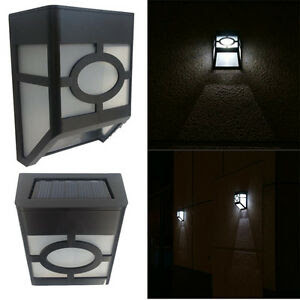 Solar Powered Wall Mount 2 LED Lights Lamp Outdoor Landscape Garden Yard Fence  eBay