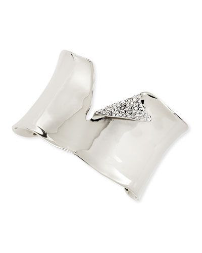 Alexis Bittar Torn Silvery Cuff with Pave Crystals