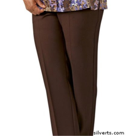 Silverts 130910704 Womens Elastic Waist Pants 2 Pockets - Ladies Pull On Pants - 38, Chocolate