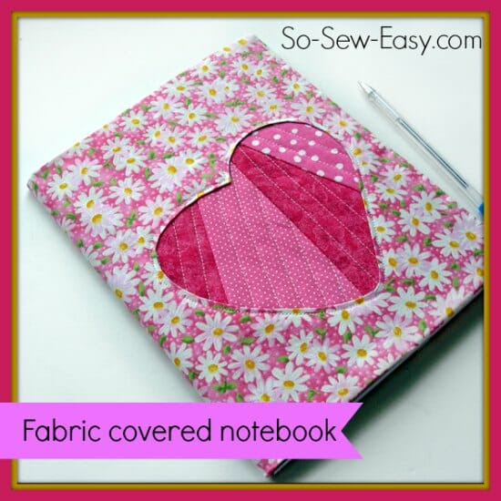Make a fabric covered notebook with cute reverse applique heart cover.