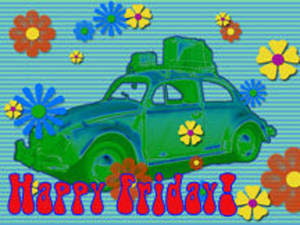 Happy Friday Free Clipart Picture Of A Retro Volkswagon And Flowers