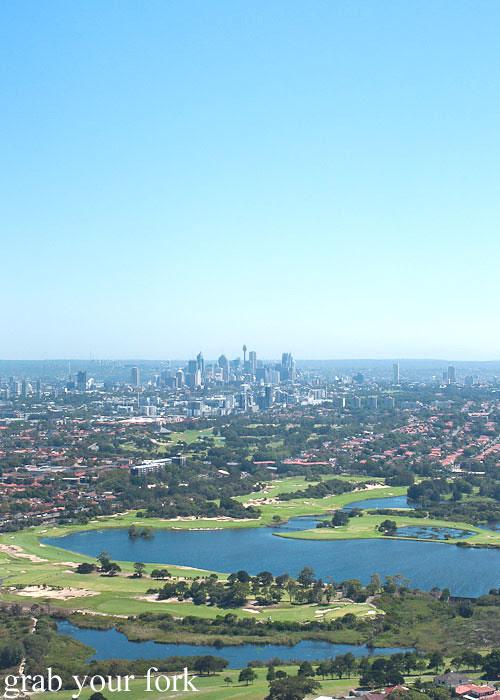 Bondi Helicopter flight aerial view over Sydney city