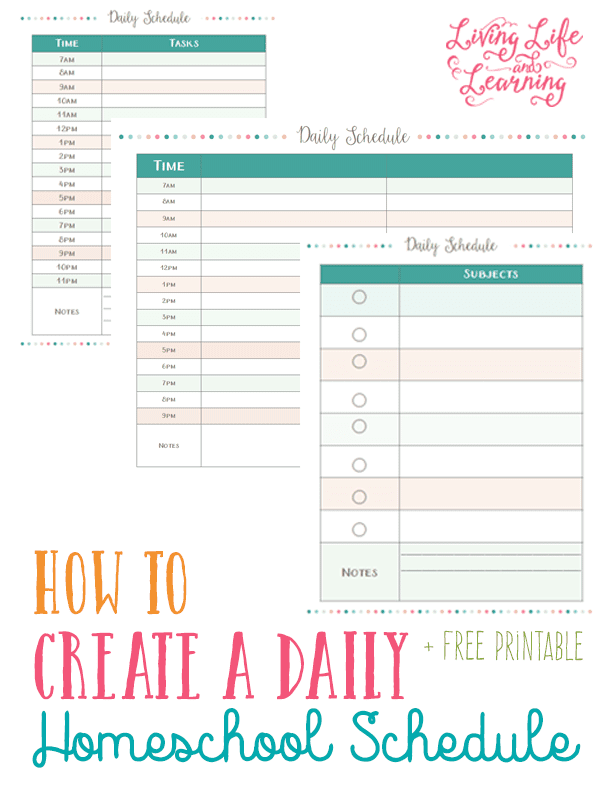 Homeschool Daily Schedule Printable   Daily Agenda Calendar
