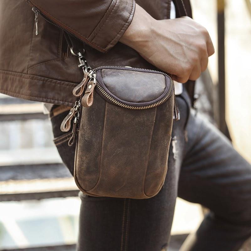 Recommended Leather men Multifunction Casual Fashion Crossbody Shoulder Messenger Bag Designer Hook Waist Belt Pack Cigarette Case 611-25-d