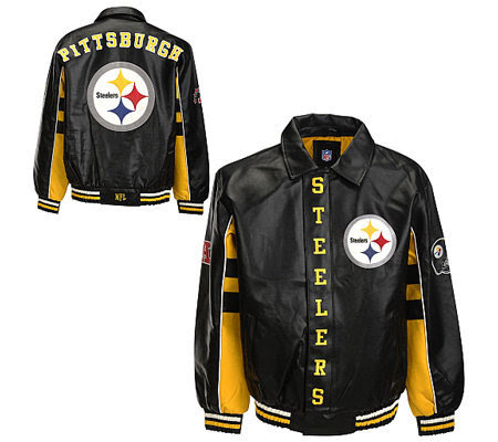 NFL Pittsburgh Steelers Faux Leather Jacket — QVC.com