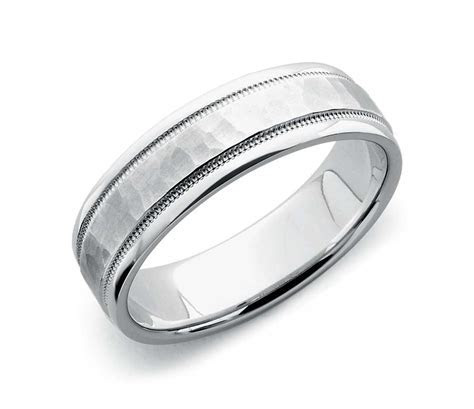Hammered Milgrain Comfort Fit Wedding Ring in 14k White