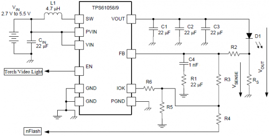 White LED flash circuit using TPS6105x