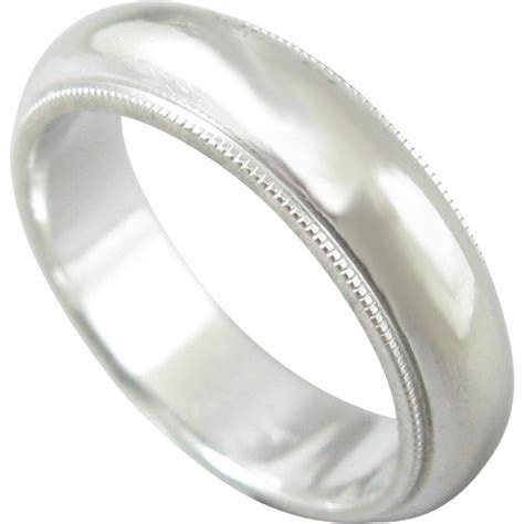 Vintage 14K White Gold Artcarved Wedding Band Ring from