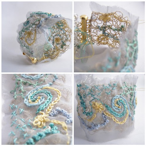 embroidered organza and wire cuff