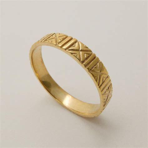 Engraved 14 Karat Gold Wedding Ring, Patterned Wedding