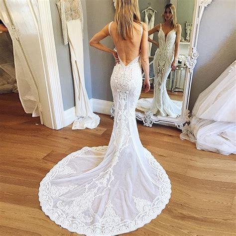 Mermaid Deep V neck Backless Court Train Wedding Dress