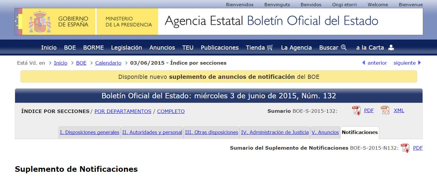 Resultado de imagen de notificaciones en el boletin oficial del estado