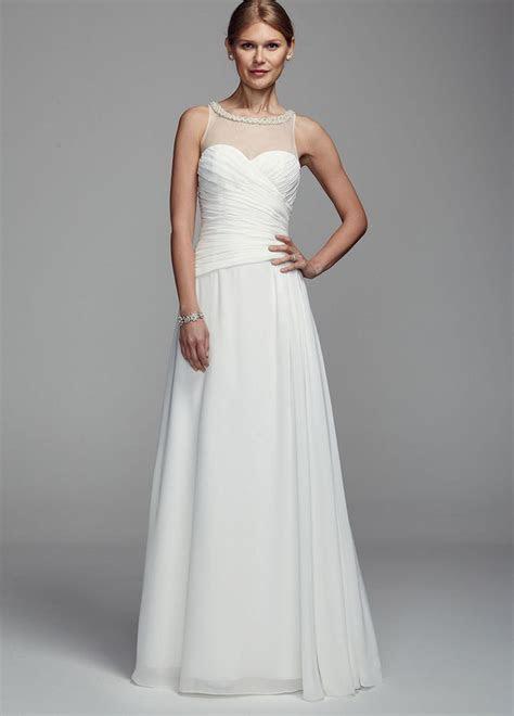 Long Chiffon Tank Wedding Dress with Illusion Neckline