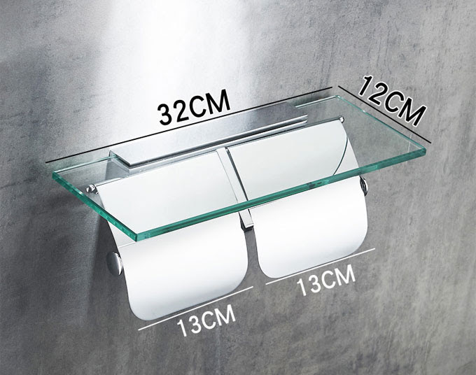 Double Roll Toilet Paper Holder With Covers And Glass Shelf Toilet