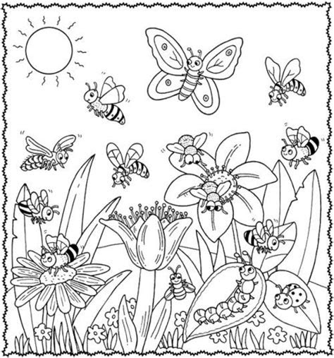 happy animal   spring flower coloring pages