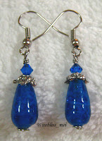 Wire Wrap Blue Teardrop Earring