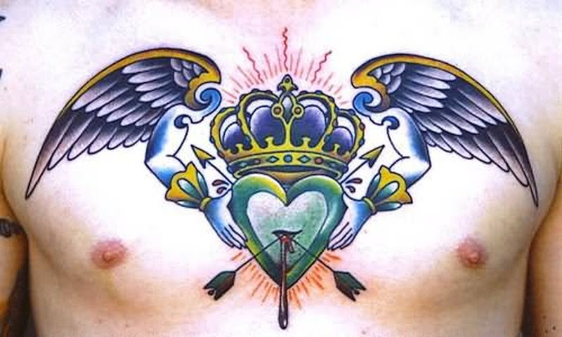 Color Ink Crown Angel Wings With Arrow Heart Tattoo Design Tattoos
