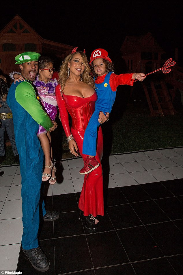 Left to right: Nick Cannon, Monroe Cannon, Mariah Carey, and Moroccan Cannon attend Mariah Carey's Halloween Party on October 22, 2016 in Los Angeles, California