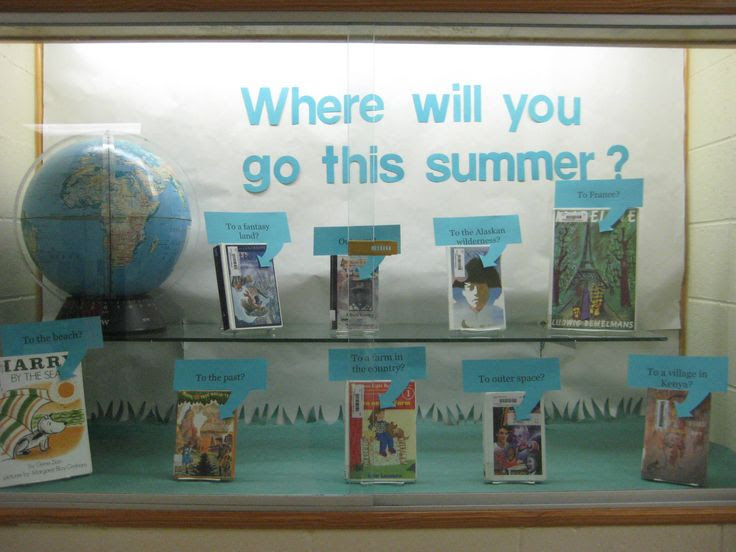 """An end of school year library display.  Books were placed in there with the """"destination"""" or where the reader will go when they read the book over their summer vacation."""