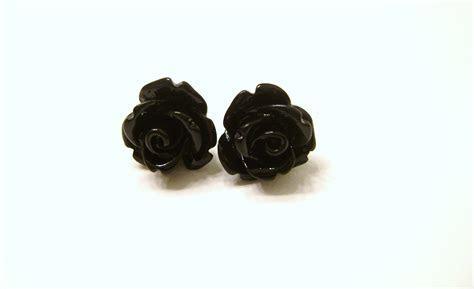 Black Rose Flower Stud Earrings, Bridesmaid Earrings, 10mm