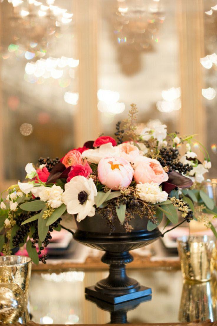 Centerpieces Modern Pink And Black Wedding Ideas 2124325 Weddbook
