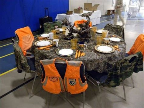 hunting wedding decorations   Reception tables   camo