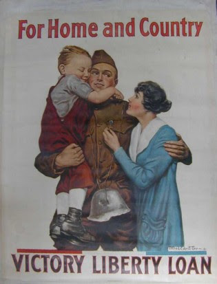 But it had nothing to do with home and country -- just as the current wars have nothing to do with fighting terrorism. Click to see a larger version and note the emotional triggers: the wife fingering a cross, the child, the grisly souvenir of a dead man's helmet.