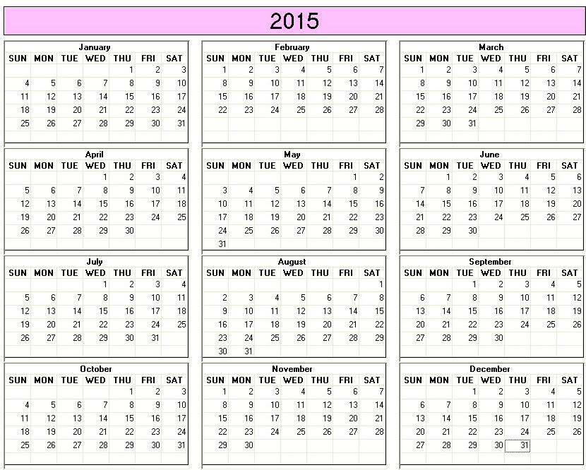 2015 calendar printable 12 months calendar on one page free