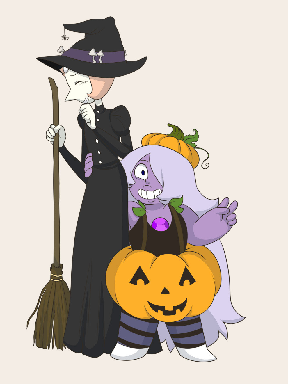 buddy-felt said: Could you draw something Pearlmethyst and Halloween-y (maybe them in their costumes)? Answer: A witch and a pumpkin!