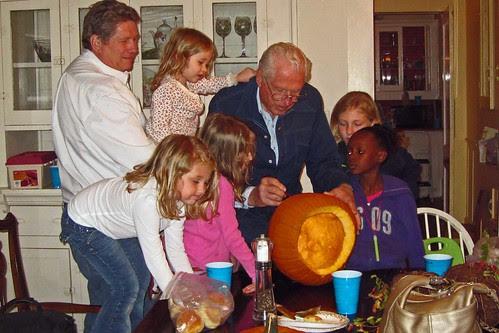 Papa Great Carves a Pumpkin