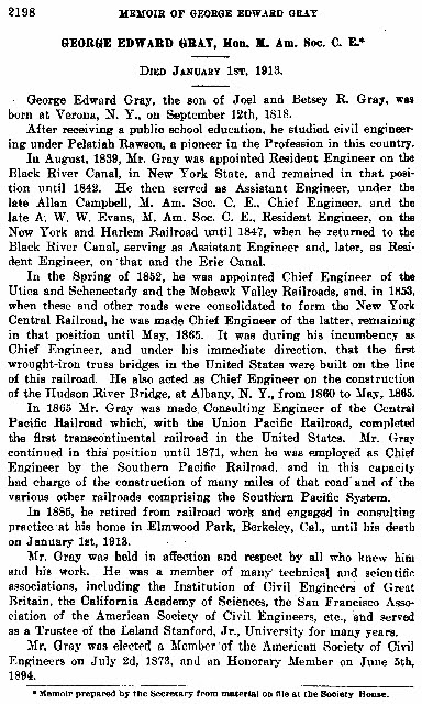 1913 obit for Col. George E. Gray from the American Society of Civil Engineers.