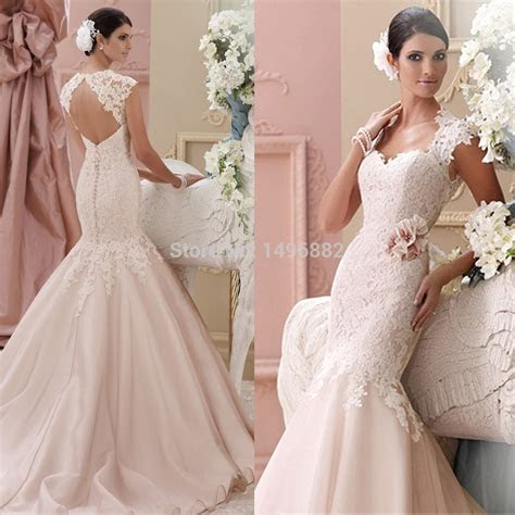 Custom Made 2015 New Blush Pink Wedding Dresses Lace
