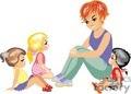 a teacher sitting talking to three little girls