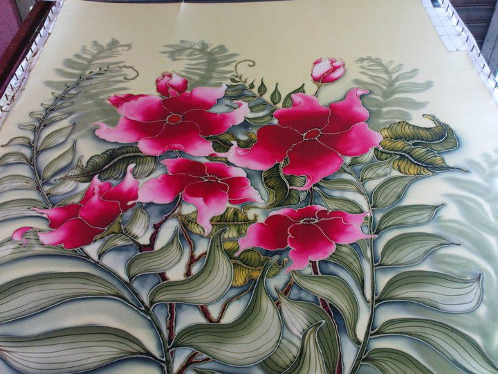 Lukisan Corak Batik Bunga Cikimm