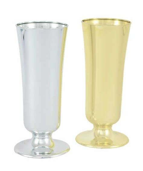 "Plastic Flower vases in Gold 8""   Wholesale Flowers and"