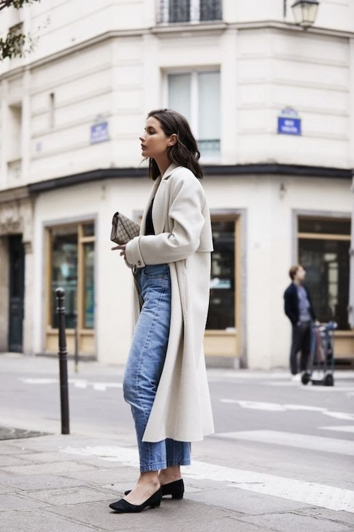Le Fashion Blog Long Cream Coat Black Top Vintage Jeans Black Block Heel Shoes Via Harper And Harley