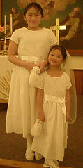 Sophia and Olivia in their First Communion Dresses
