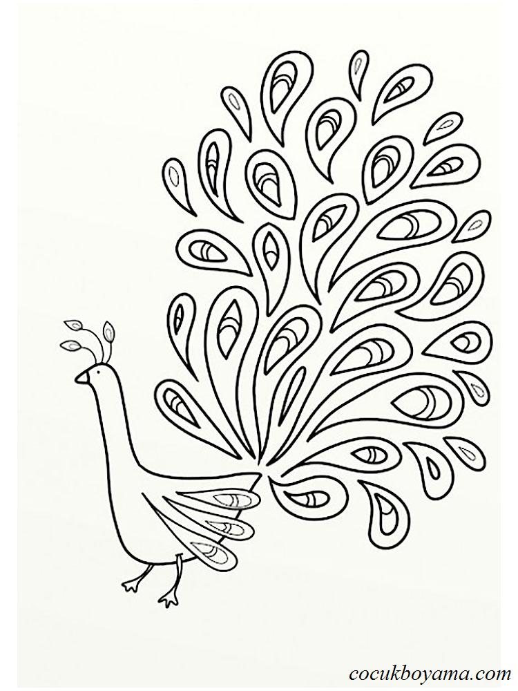 Tavus Kuşu 30 ücretsiz Boyama Resimleri