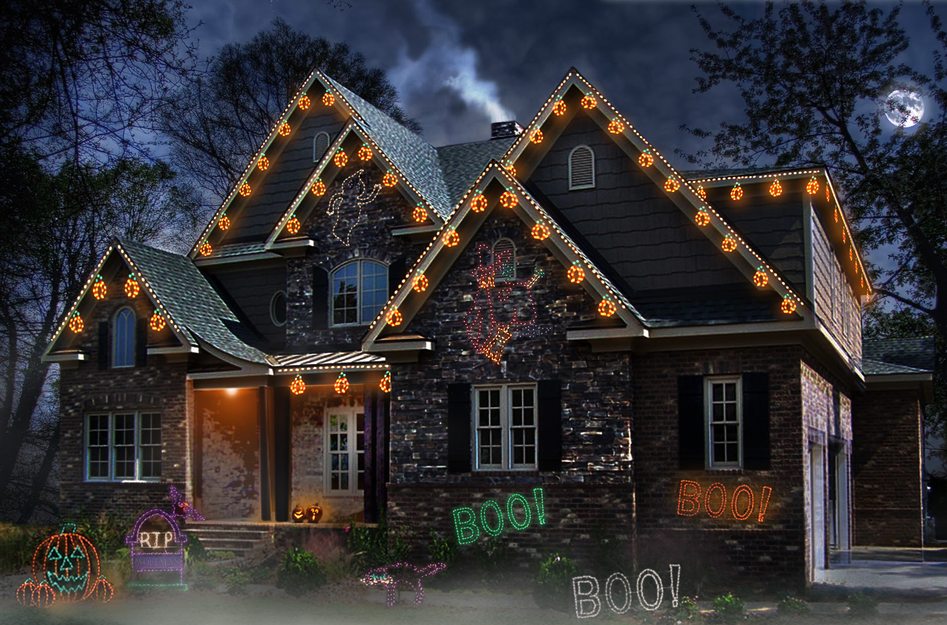 Lights for Halloween? A Frightfully Good Idea!  No Fuss Lights  Christmas Light Installation