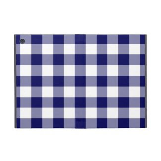 Navy and White Gingham Pattern Cover For iPad Mini