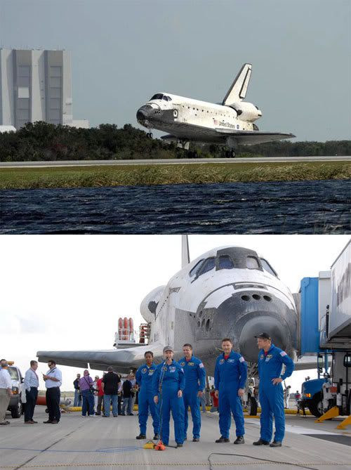 Space shuttle DISCOVERY touches down at Cape Canaveral in Florida on November 7, 2007.